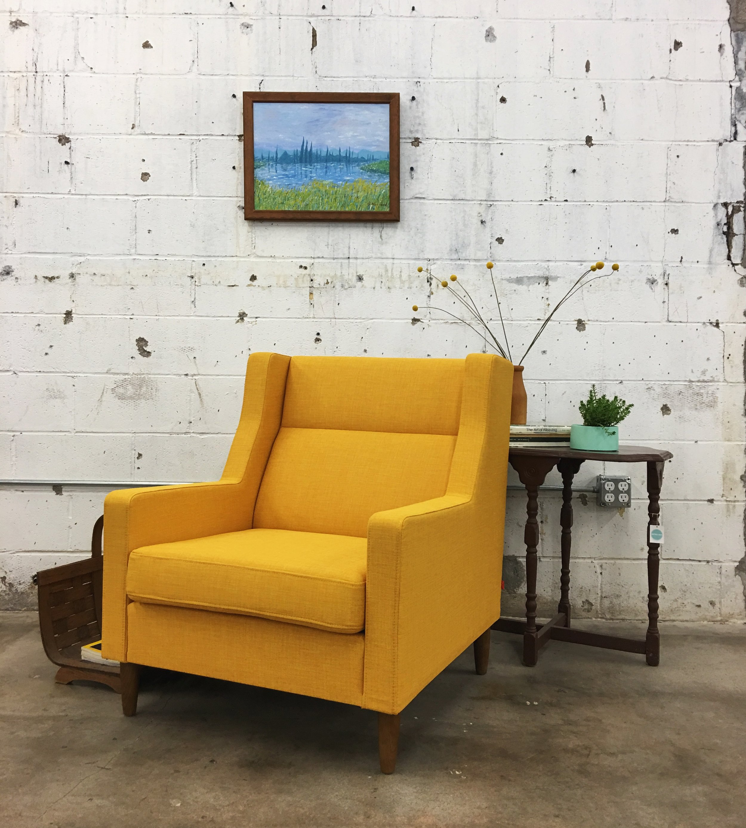 Our sweet home styling clients' Gus* Carmichael Chair came in this week and guess who is digging the color. That's right, ol' school bus yellow lover Palmer.