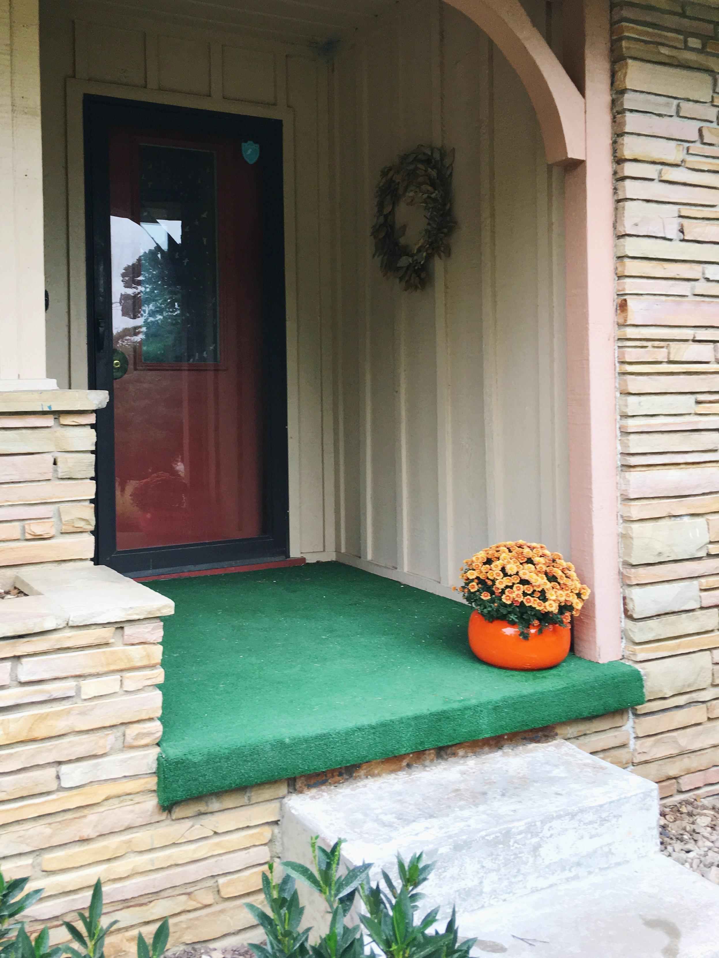 fall orange porch mums