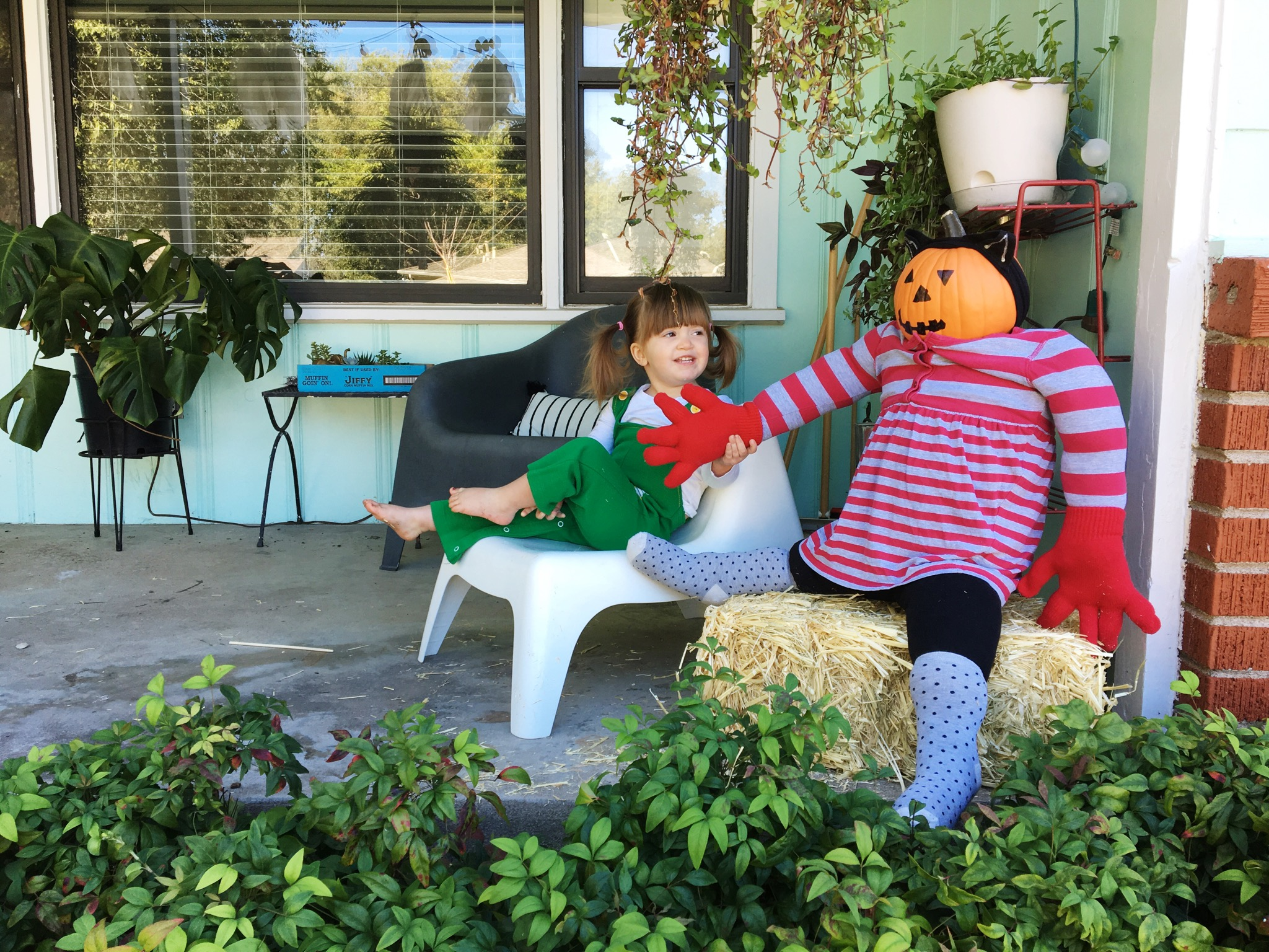 Happy fall! From Harriet and her porch scarecrow! We went to the thrift store and I let her pick out the outfit, then we stuffed it!