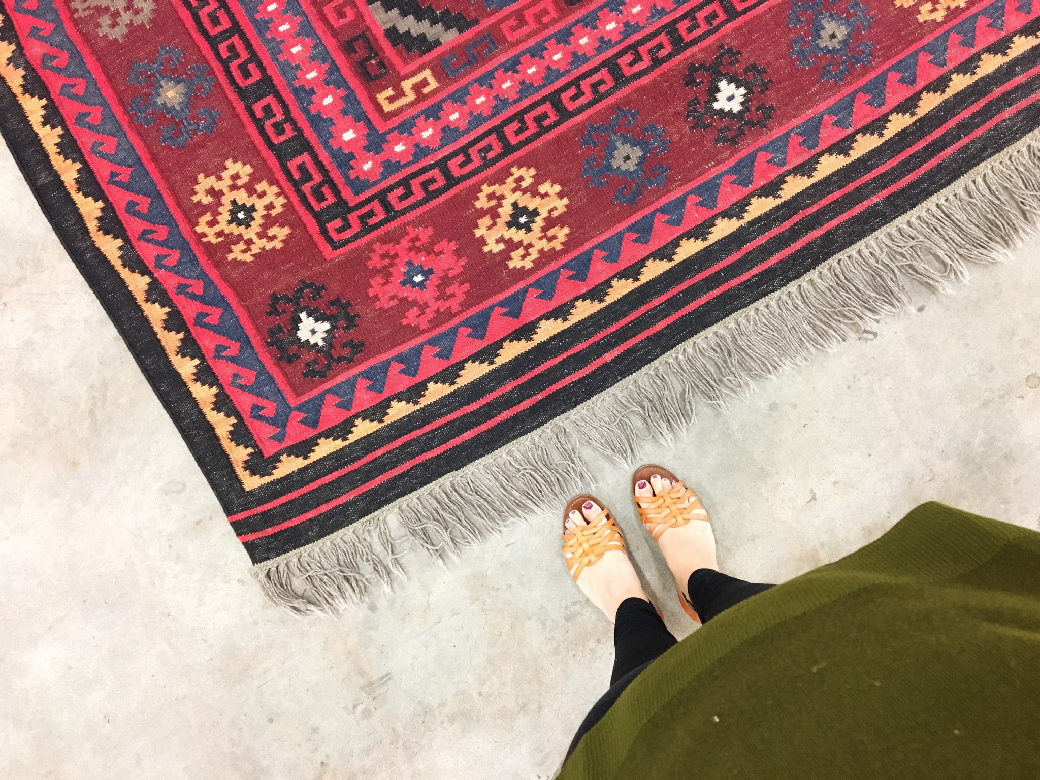 We brought this colorful Kilim rug into the shop last week. It's a big hit on the floor! Call us if you want to buy it. 918 794-7118.