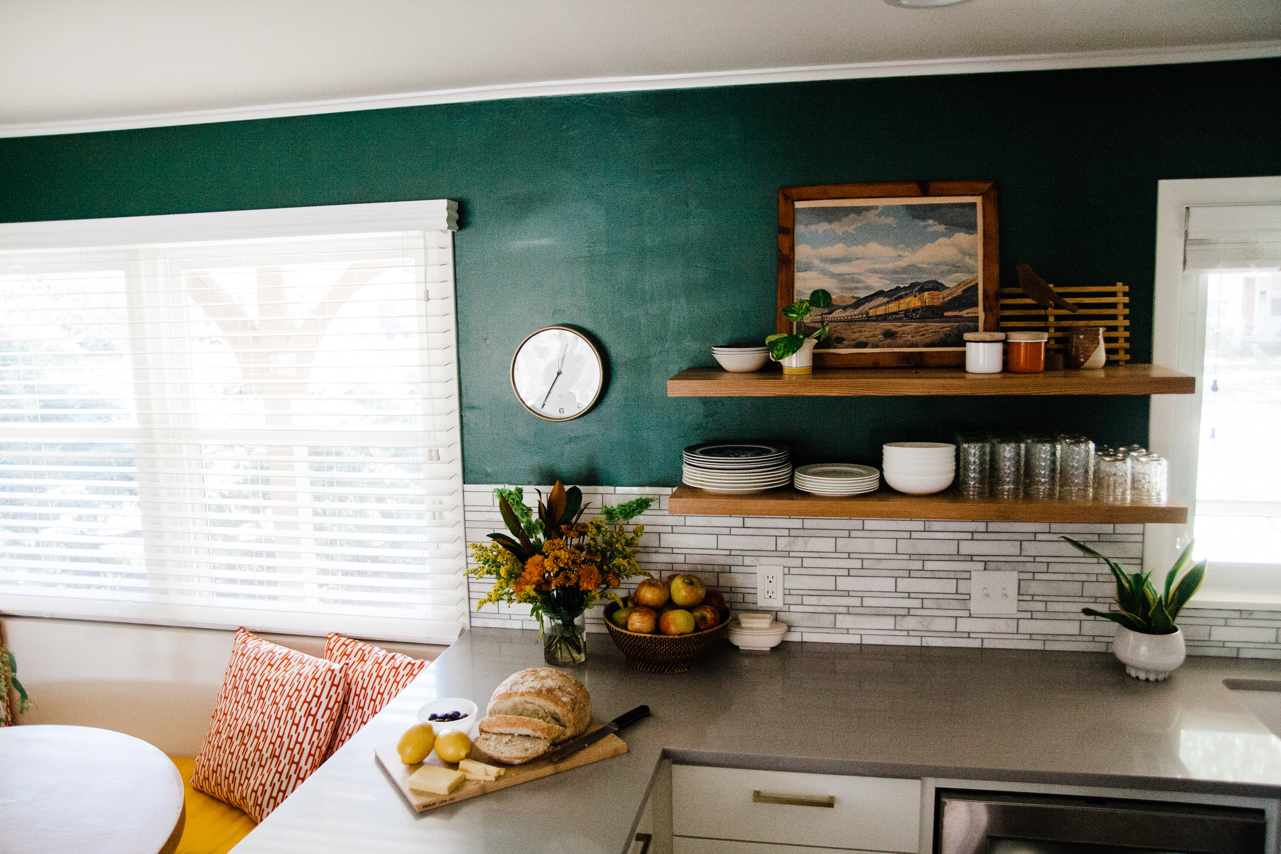 I'm glad that I didn't chicken out on painting the walls green.I love the blend of colors we have going on while still maintaining the light, calm and airy feel.