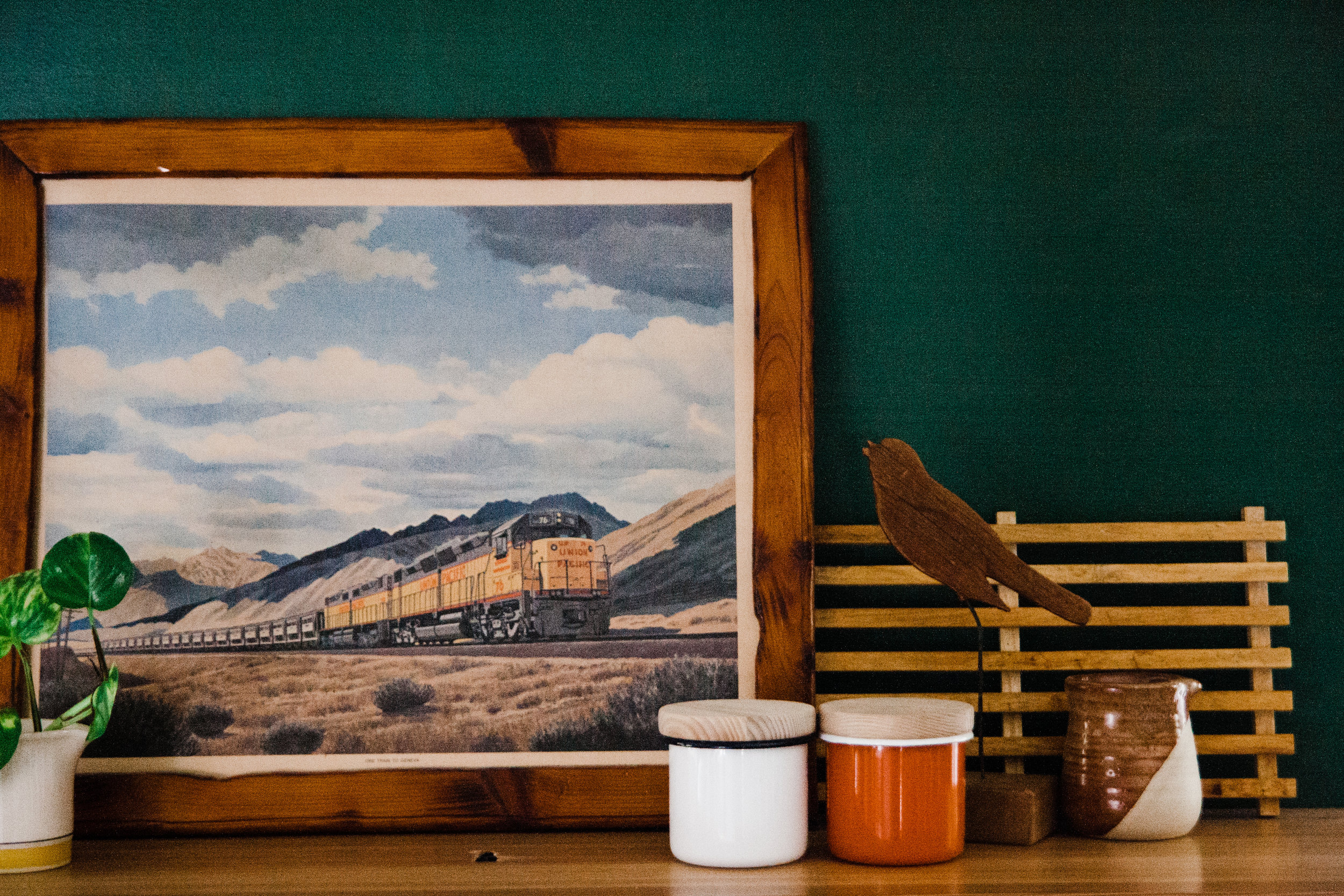 I found this framed vintage train print at the  Tulsa Flea Market  mid-renovation and knew it would be perfect in the new space.