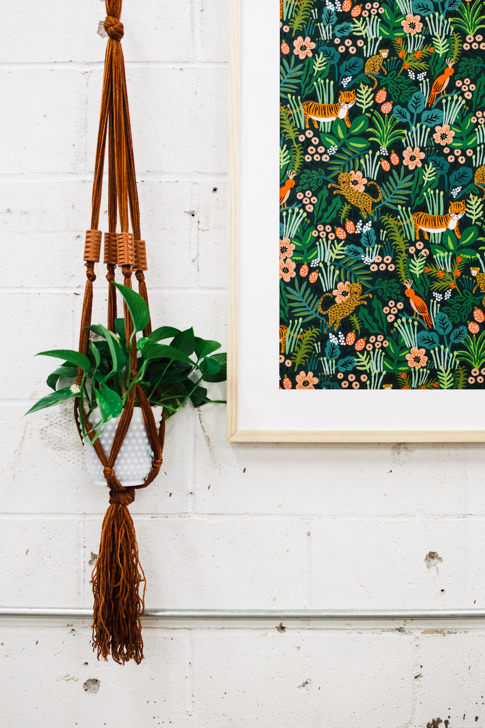 // Photo    You Are Photo Co.    // This photo was taken at the shop, and I fell in love with how Ruby and Abby paired this plant hanger with the framed Rifle Paper Co. fabric. Obviously, it had to come home with me.