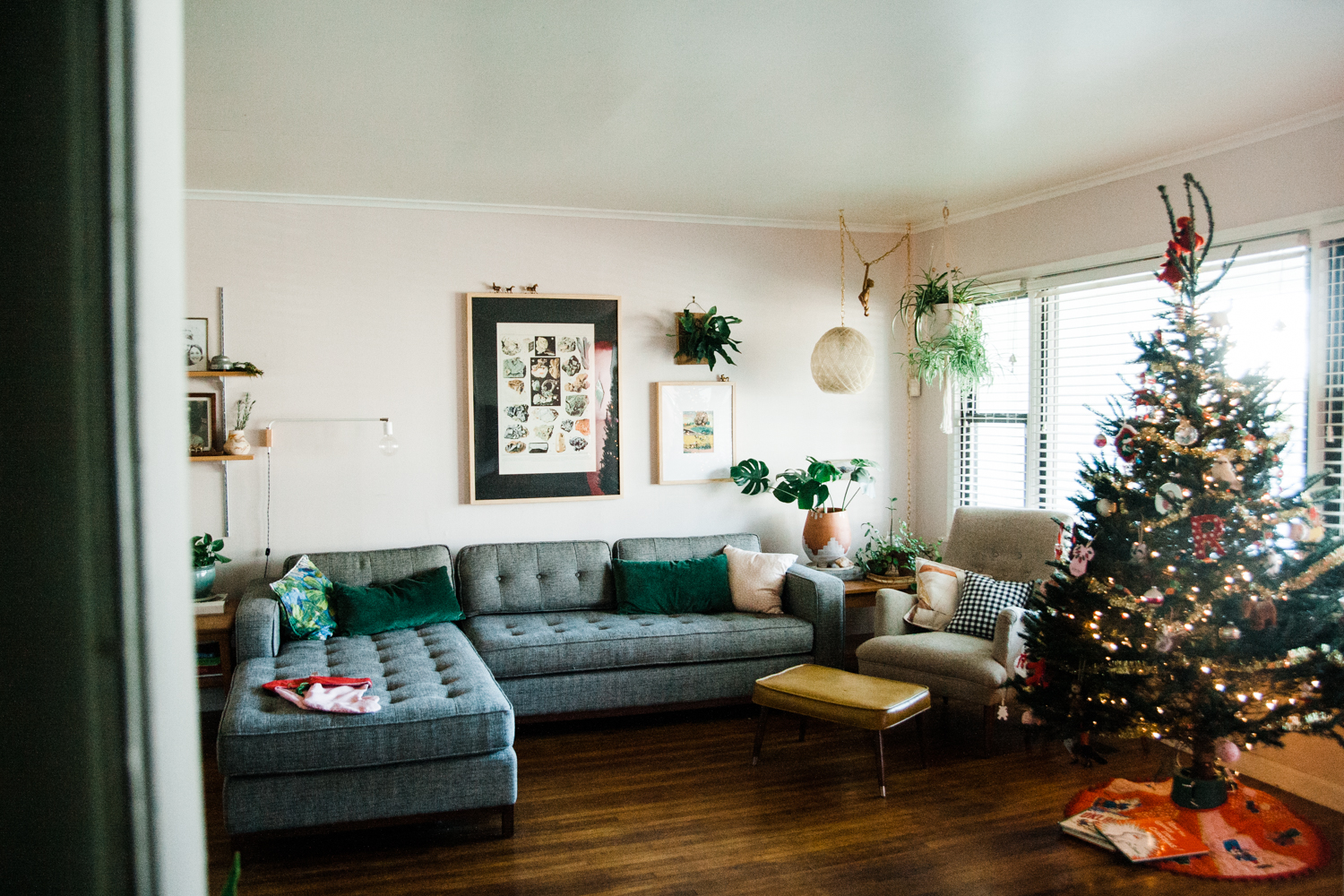 """Our tree skirt was made by my husband's grandmother, Mimi, Alma Lee Daly. And that book under the tree is """"How the Grinch Stole Christmas,"""" which my dad read to me every year and substituted my name in on Cindy-Lou-Who's part. """"Ashley-Lou-Who who was barely 33."""""""