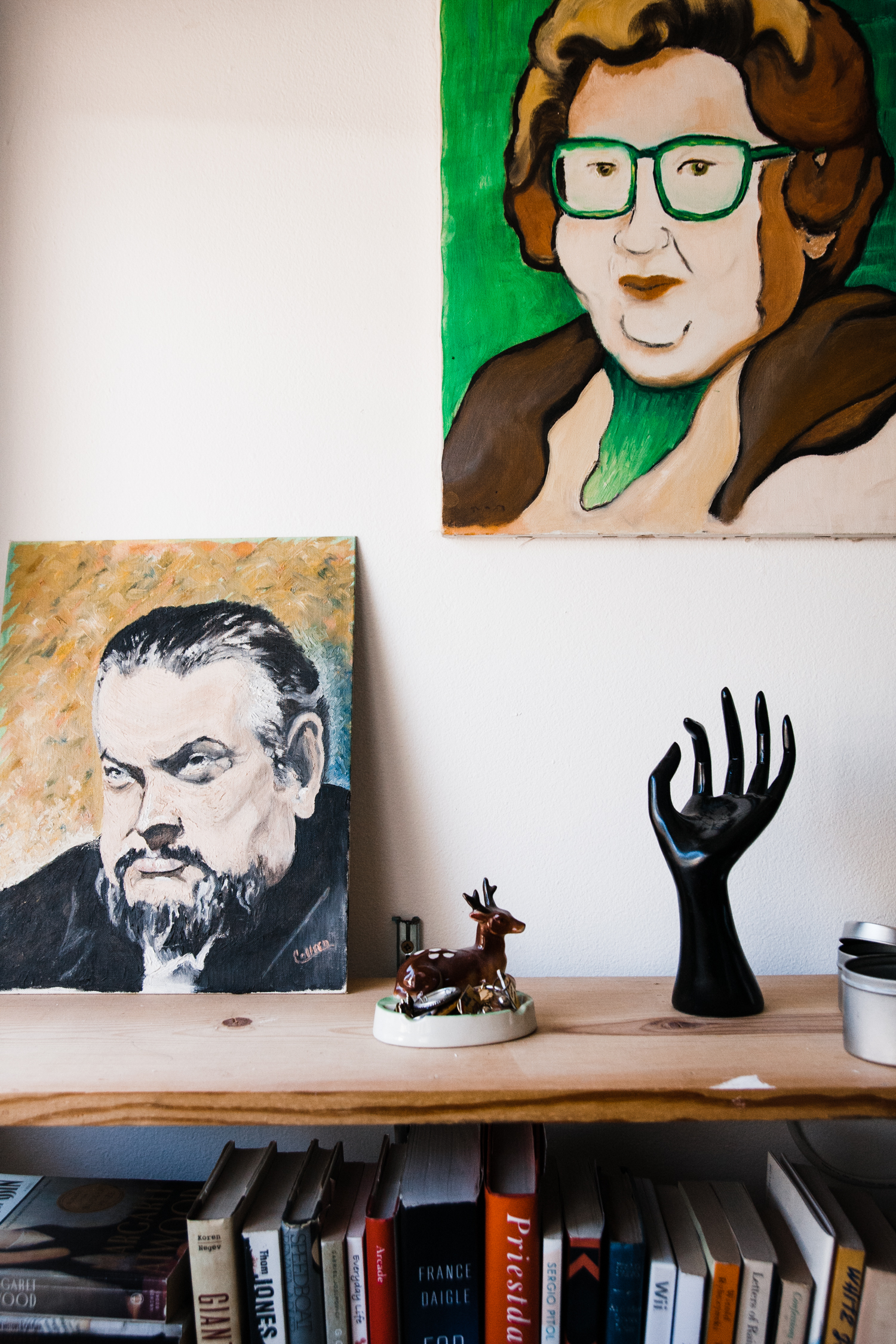 Sarah's grandmother painted these portraits–Orson Wells and herself.