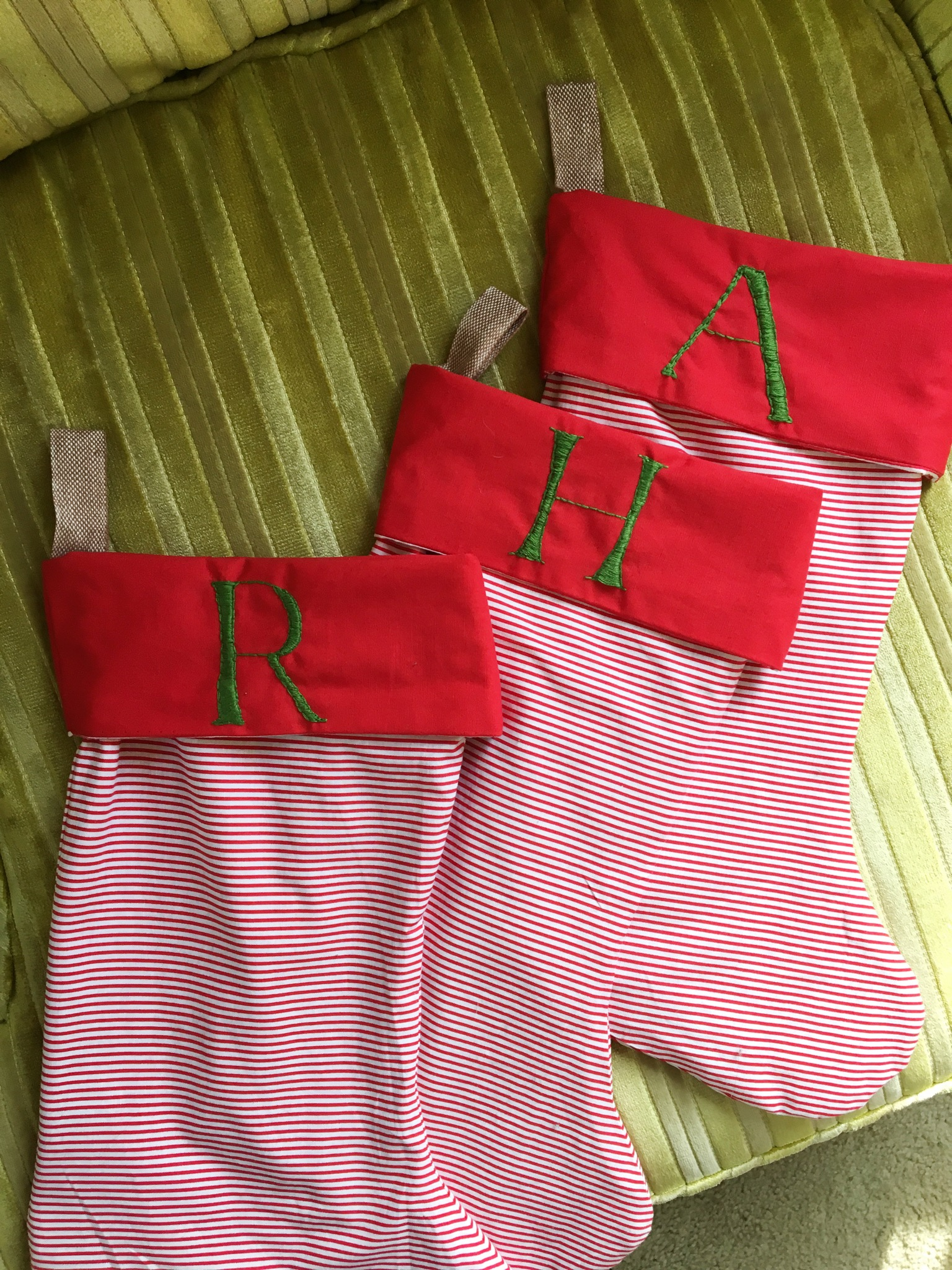Daly also made stockings for her sweet family and embroidered their initials on them. Palmer wants to follow in her footsteps next year. Do you have stockings? What's their story?