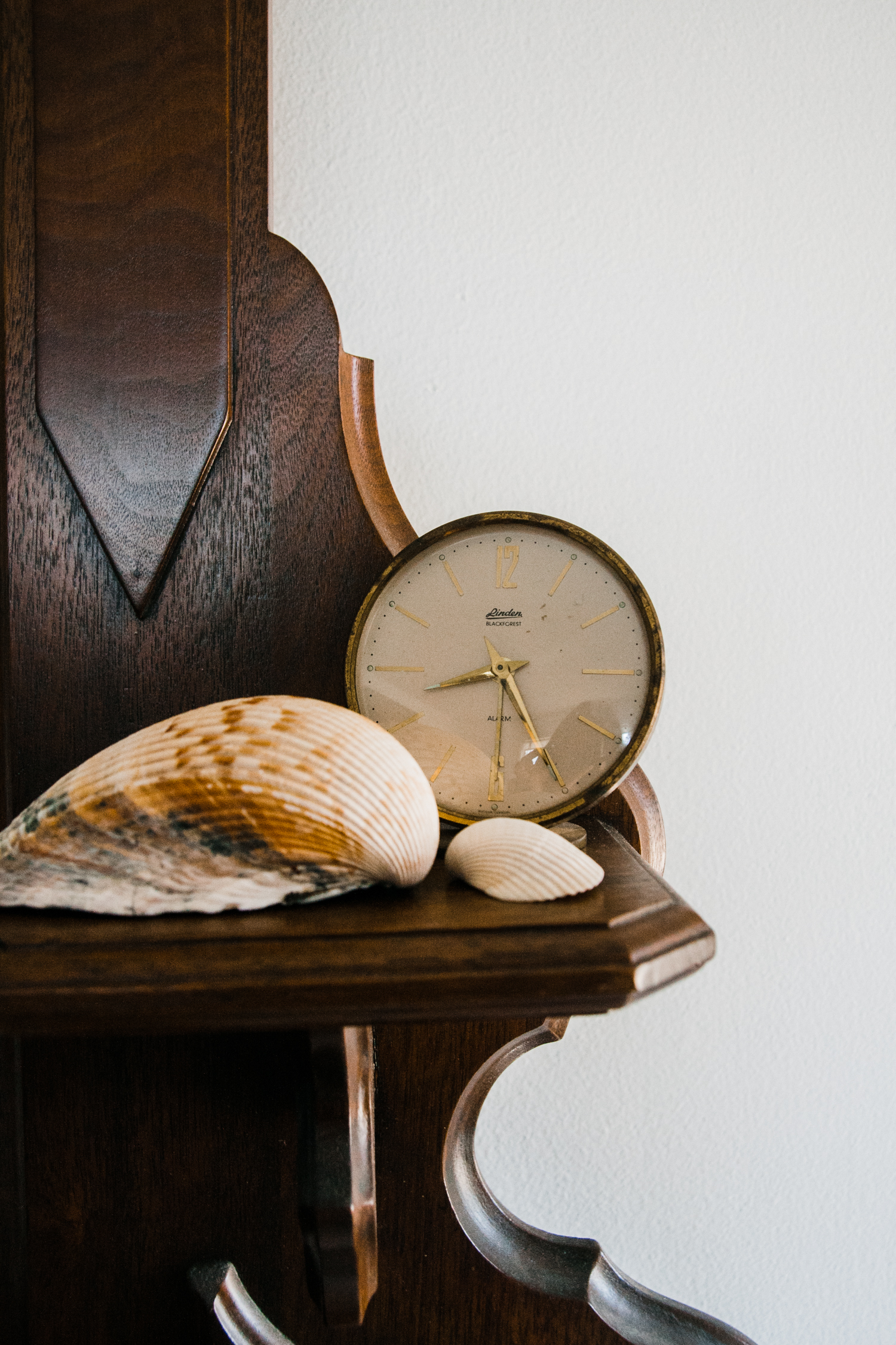 The seashells are from our family beach vacation. The vintage clock is from local shop  Jo & June.