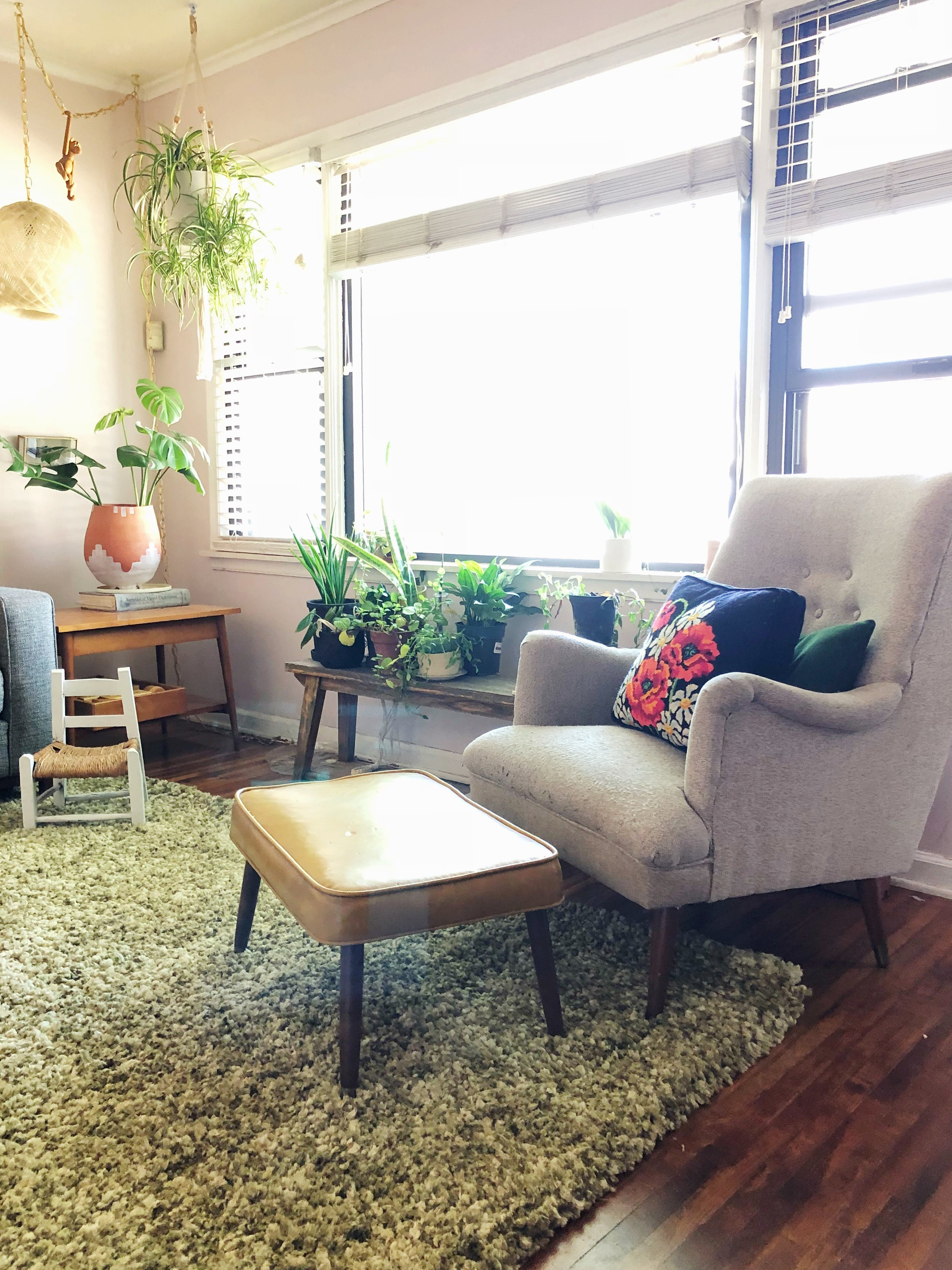 Daly added a thrifted green shag rug to her living room this week. What do you think? She thinks it's more of a boyfriend rather than a husband. Good for the moment, but not forever.