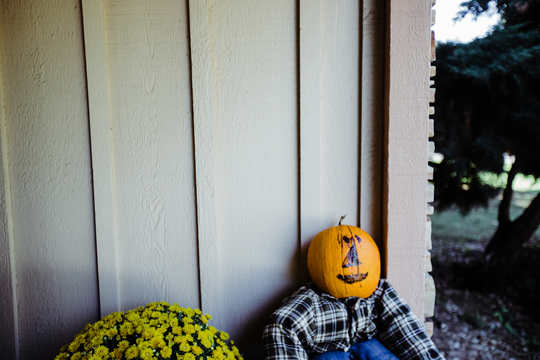 I think Caroline named this scarecrow Glittericious or something horrible like that.