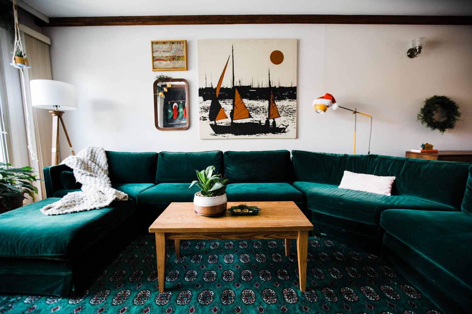 Now with my green rug + green sectional, Christmas decorating is a breeze.