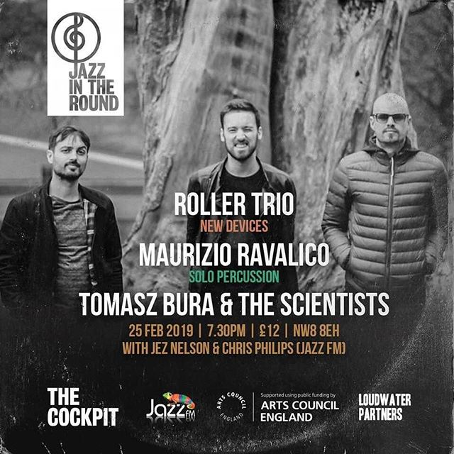 Tomorrow night!! We shall be playing a special set down in London at the @cockpittheatre for @jazzintheround  We will be joined by @maurizioravalico and @tomaszbura so come on down and enjoy some good music!  #gig #london #trio #music #jazz #saxophone #drums #bass #improvisation