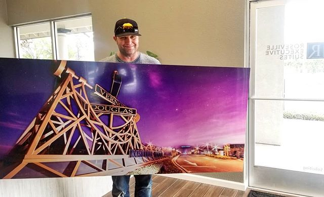 This was such a dope print! 😍  Our first local #rosevilleca image we have had the honor of printing! This beautiful composite was created by @rileybangs131s, always showing his ability to make anything magical. 🔮  You can check it out hanging in the Roseville Exectutive Suites off Riverside, adding some amazing colors to their lobby. 🌌  Local photographer going through a  local printer hanging art in a local business, that's what I love! 💜📸😁 #b2b #localphotographer #supportlocalbusiness #localart #deckthewalls