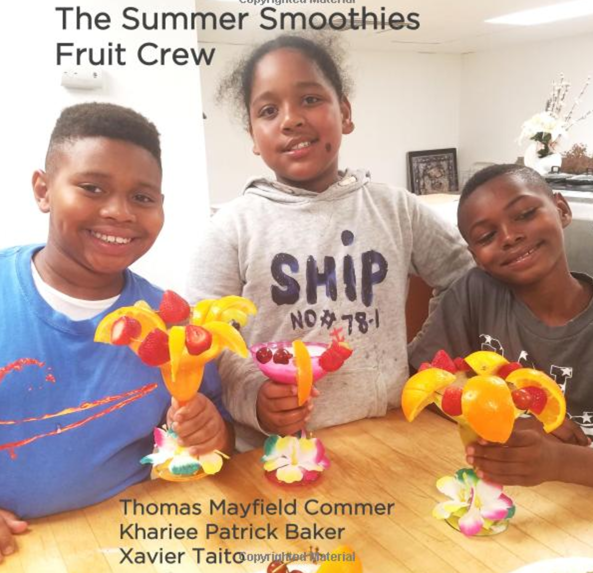 The Summer Smoothies Fruit Crew   In thinking about ways to improve our community, we decided that we could help by teaching people how to make healthy summer treats. Read our book to learn how we make fruit smoothies.   Buy this book.