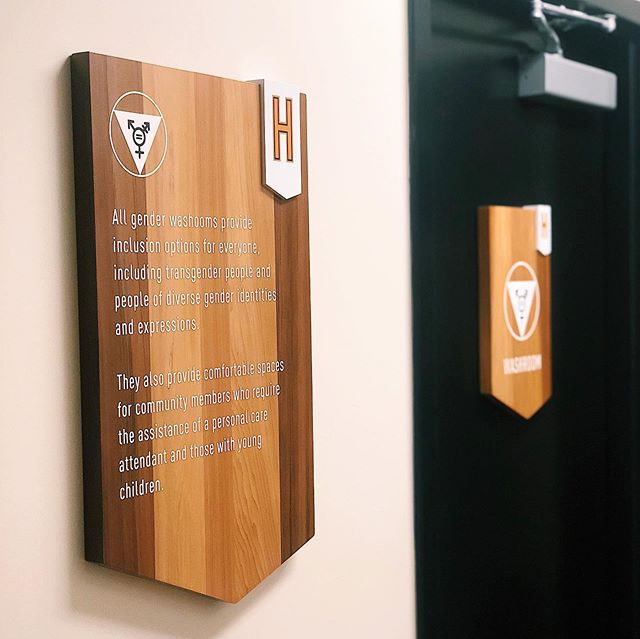 We're flushing away any and all discrimination! 🏳️‍🌈🤱 Whoever you are, whatever you identify as—we want you to feel comfortable in our space. _____  Introducing our new gender neutral & nursing parent washrooms! Thank you to @banffsignco for these rad signs. #equality