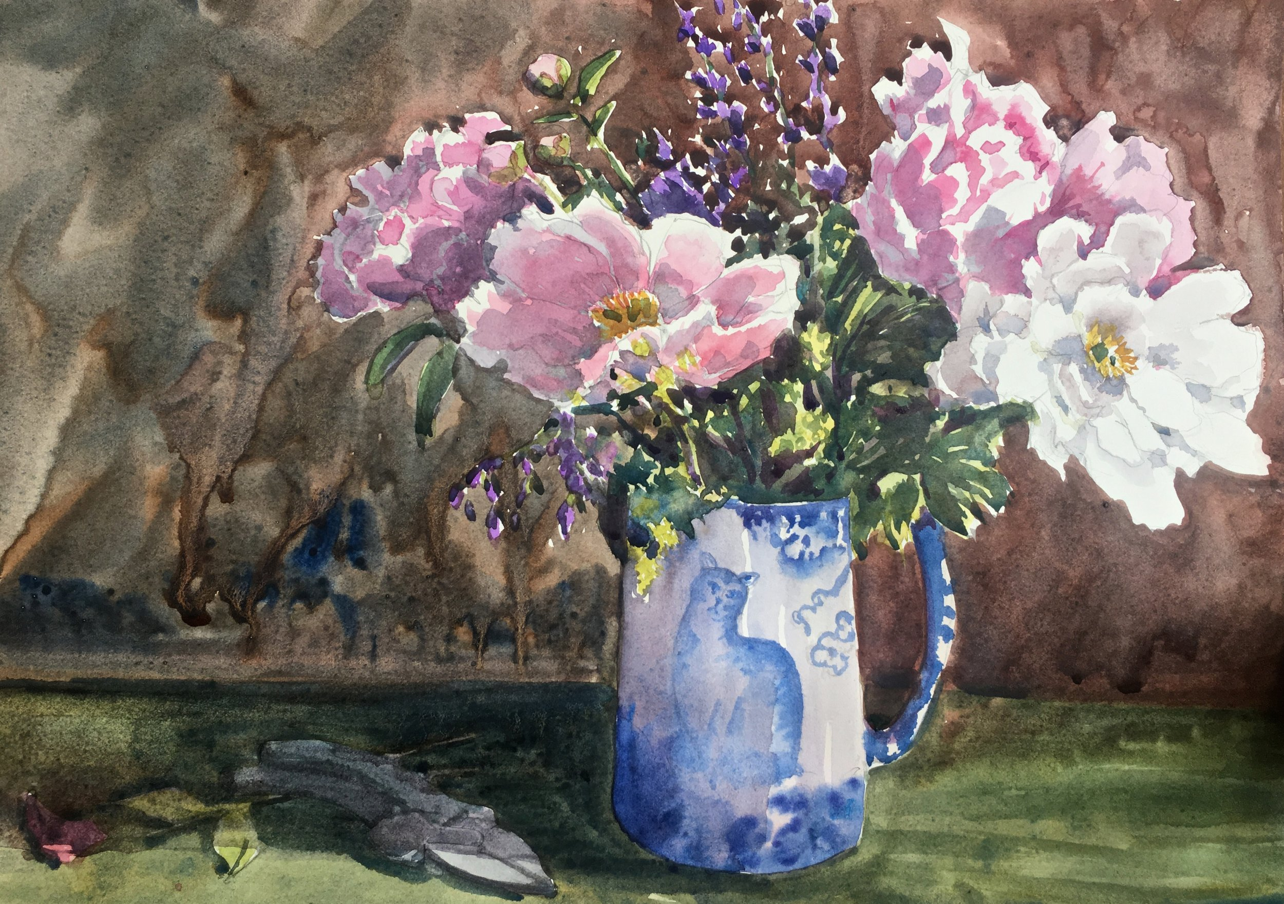 Peonies in a calico pitcher