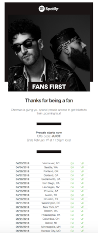 spotify artist tour updates