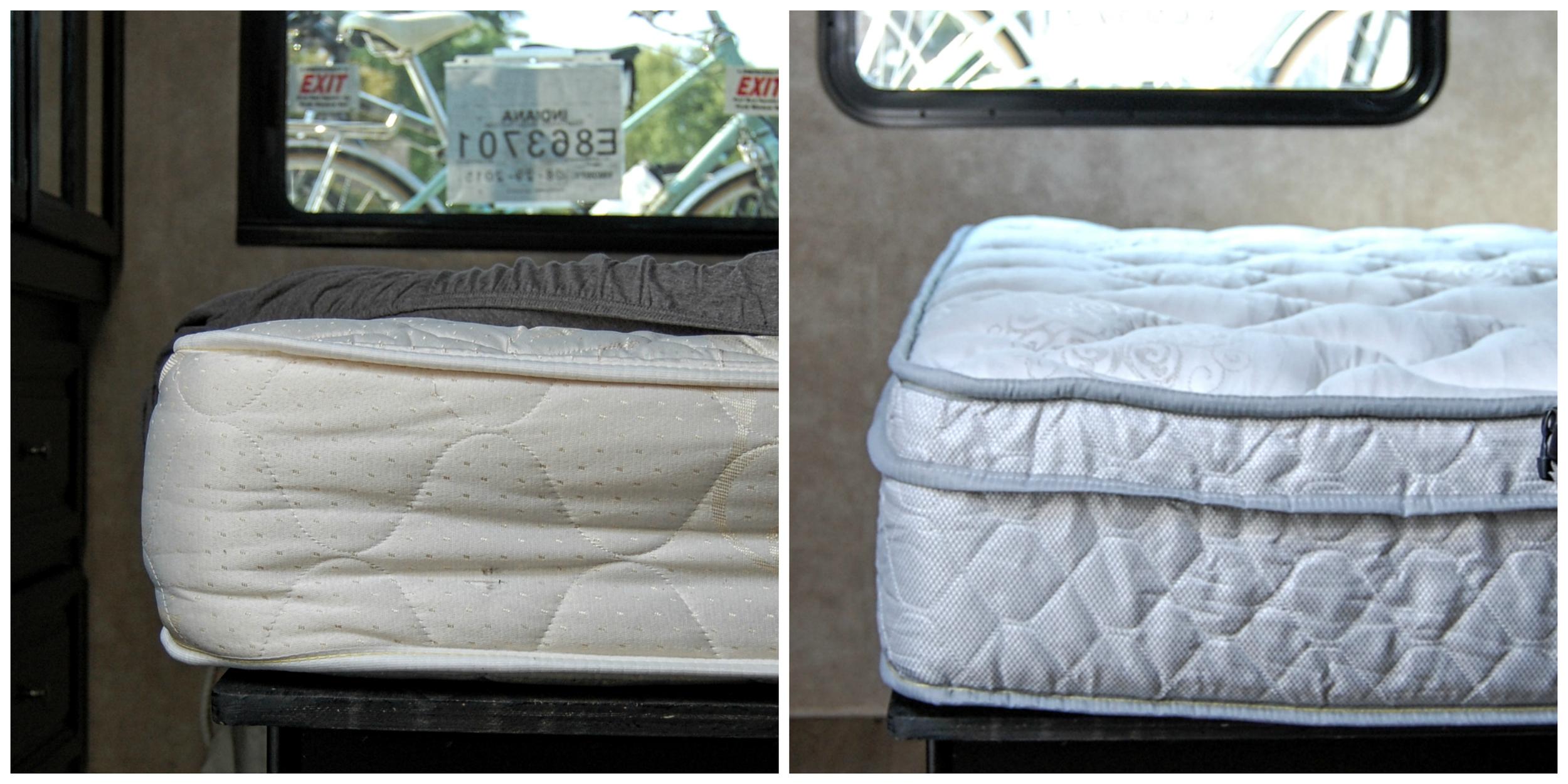 L: Old RV mattress. R: Luxurious Denver Mattress RV Collection upgrade.