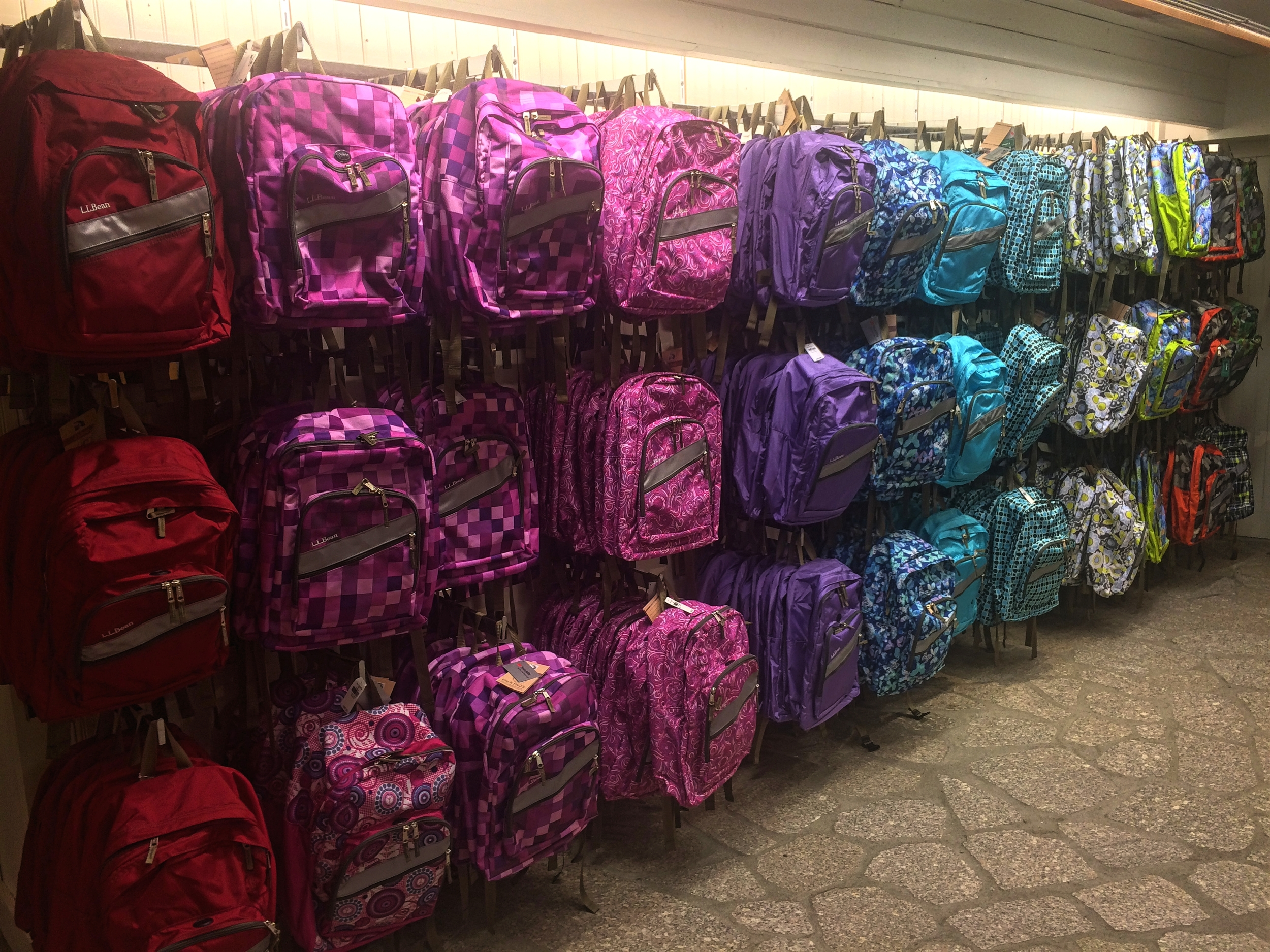 Jeremy and I both grew up with these classic L.L. Bean backpacks in high school. Mine was the jumbo one with two large zippered compartments and I had let all my friends sign their names on it with whiteout pens. So cool.