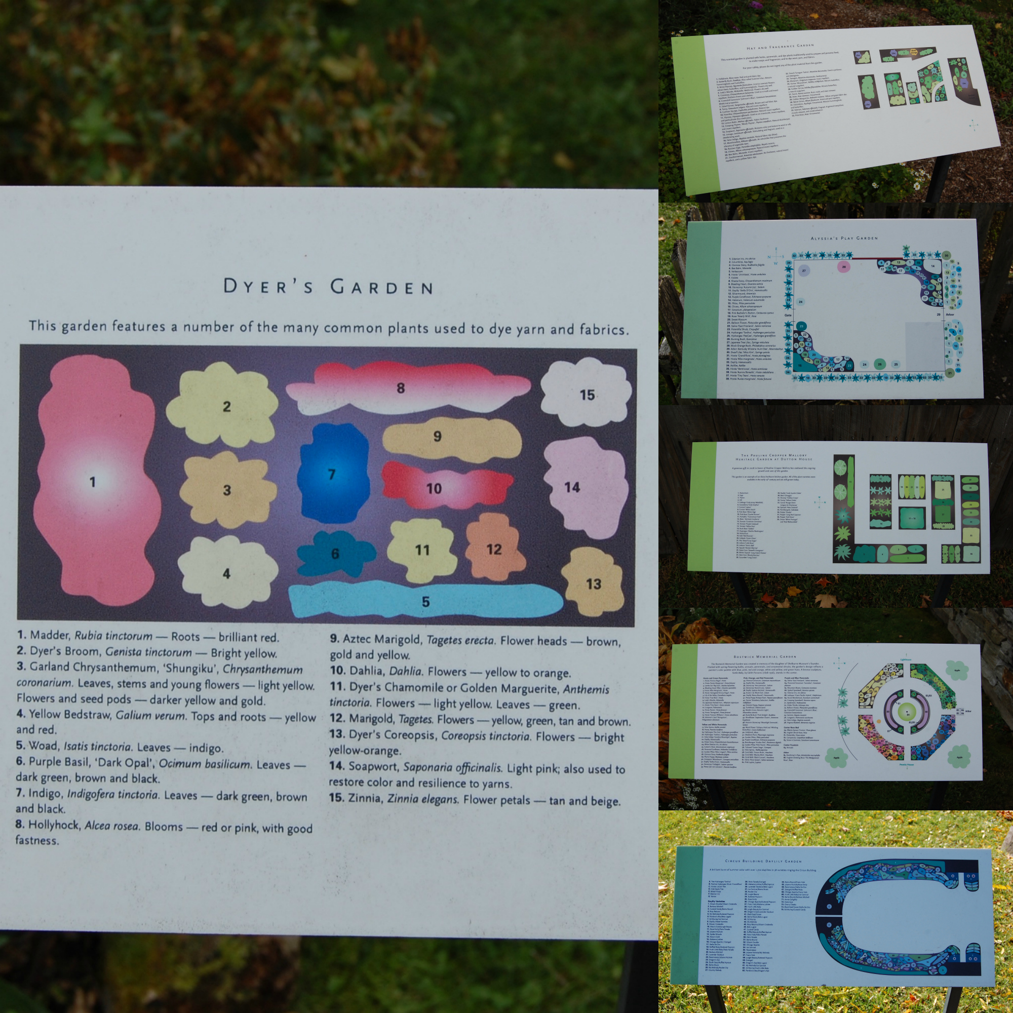 Some of the garden maps found on the Shelburne Museum grounds.