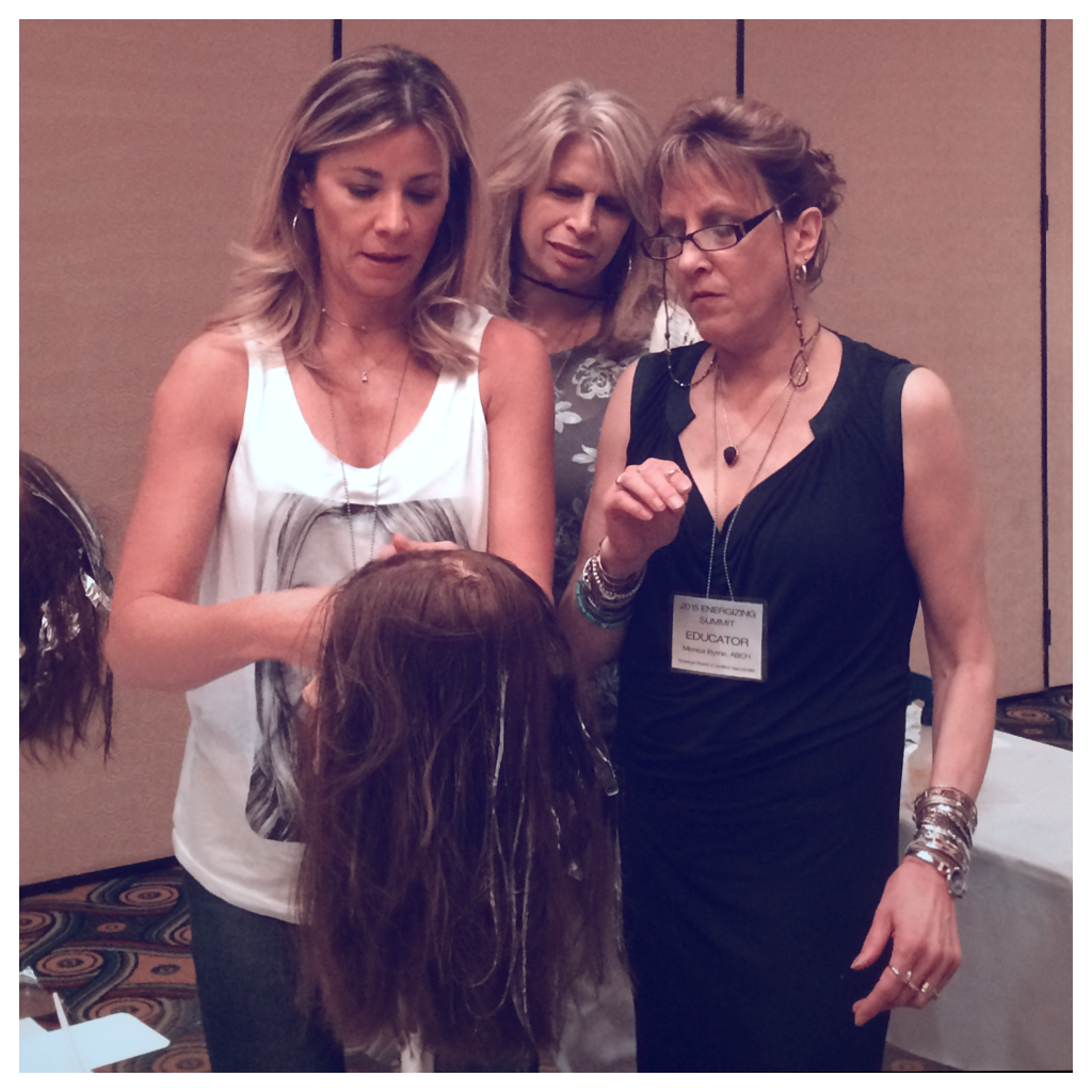 Monica teaching alongside some of the best hair colonists in the industry at the 2015 ABCH Energizing Summit in L.A.