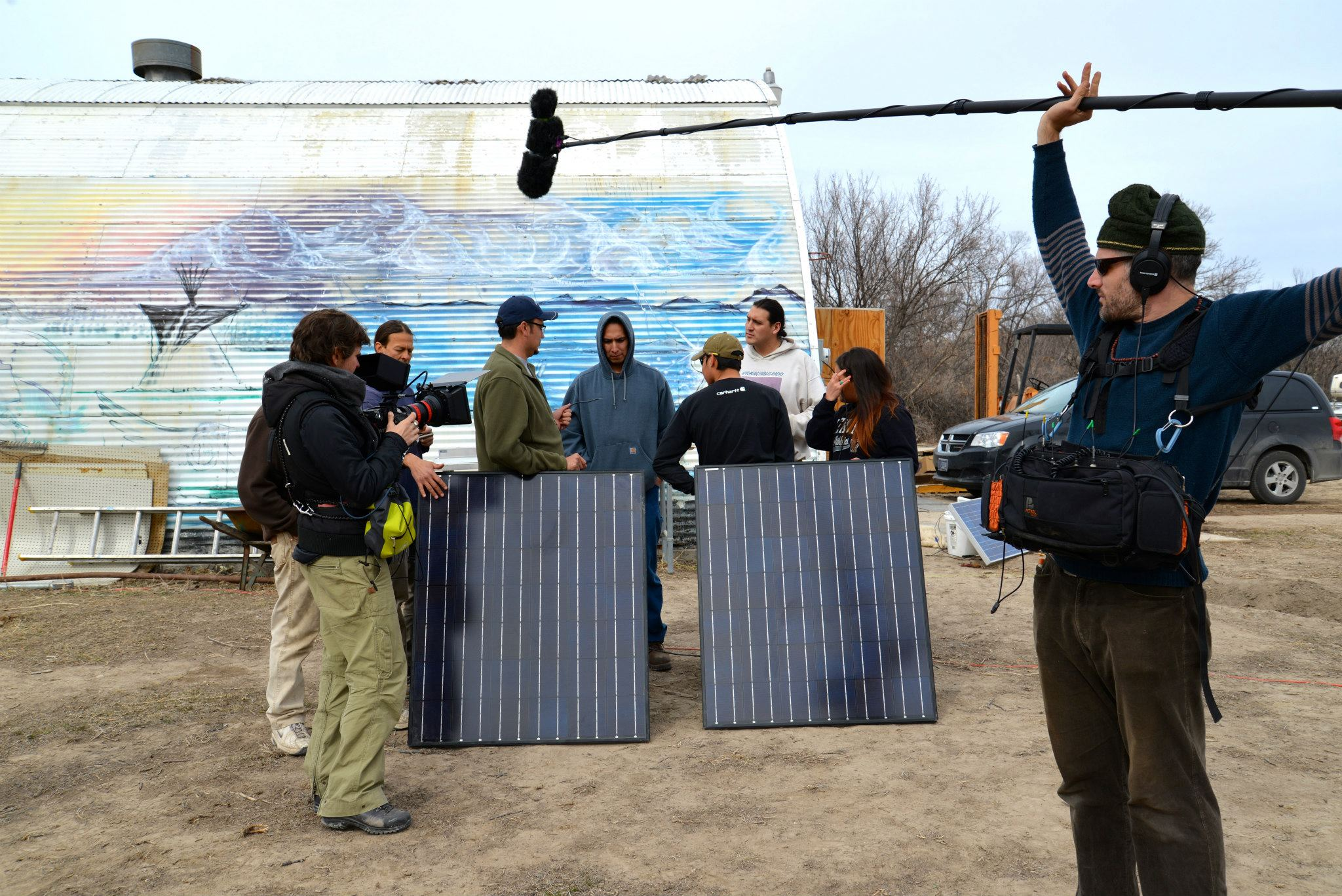 This Changes Everything crew filming students at the Red Cloud Renewable Energy Center. (Photo by Alexis Bonogofsky)