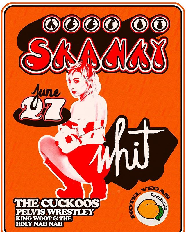 "TOMORROW NIGHT 🤘😎🤘 ""💋KEEP IT SKANKY YALL💋  Your favorite skanks are gunna skank it up at Hotel Vegas June 27 so make sure to brang yo skanky asses  SKANKS ON DECK:  Skank #1: 10p King Woot and The Holy Nah Nah  Skank #2: 11p The Cuckoos  Skank #3: 12a Whit  Skank #4: 1a Pelvis Wrestley $5 """