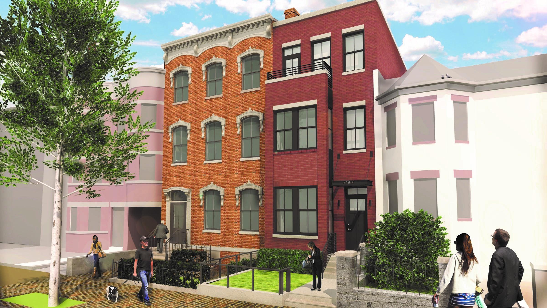 Proposed front facade of 415 M Street NW, a 6-unit luxury custom condominium building.