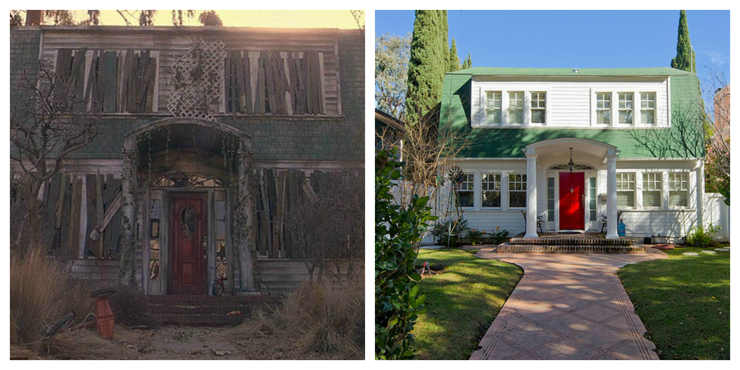 5)  A Nightmare on Elm Street (1984) : You are not dreaming; this nightmare-ish 4 bedroom/3.25bath & guesthouse in Los Angeles, CA still stands and is a  beautifully restored home that sold in 2013  for $2.1M. While neither decrepit nor abandoned, the Freddy Kreuger house is one of the few on this list that is still habitable with no known paranormal activity occurring within the owner's presence.  As you can see, the Elm Street house still retains its  green shingled roof as well as its iconic red door, but the real question is: what does the basement boiler room look like?