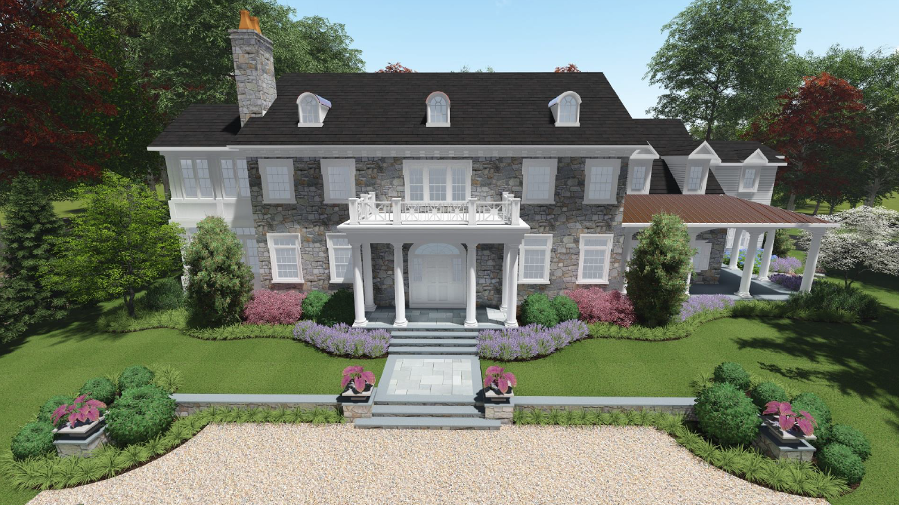 An early rendering of the Benjamin Street home with a white railing above the front door porch.