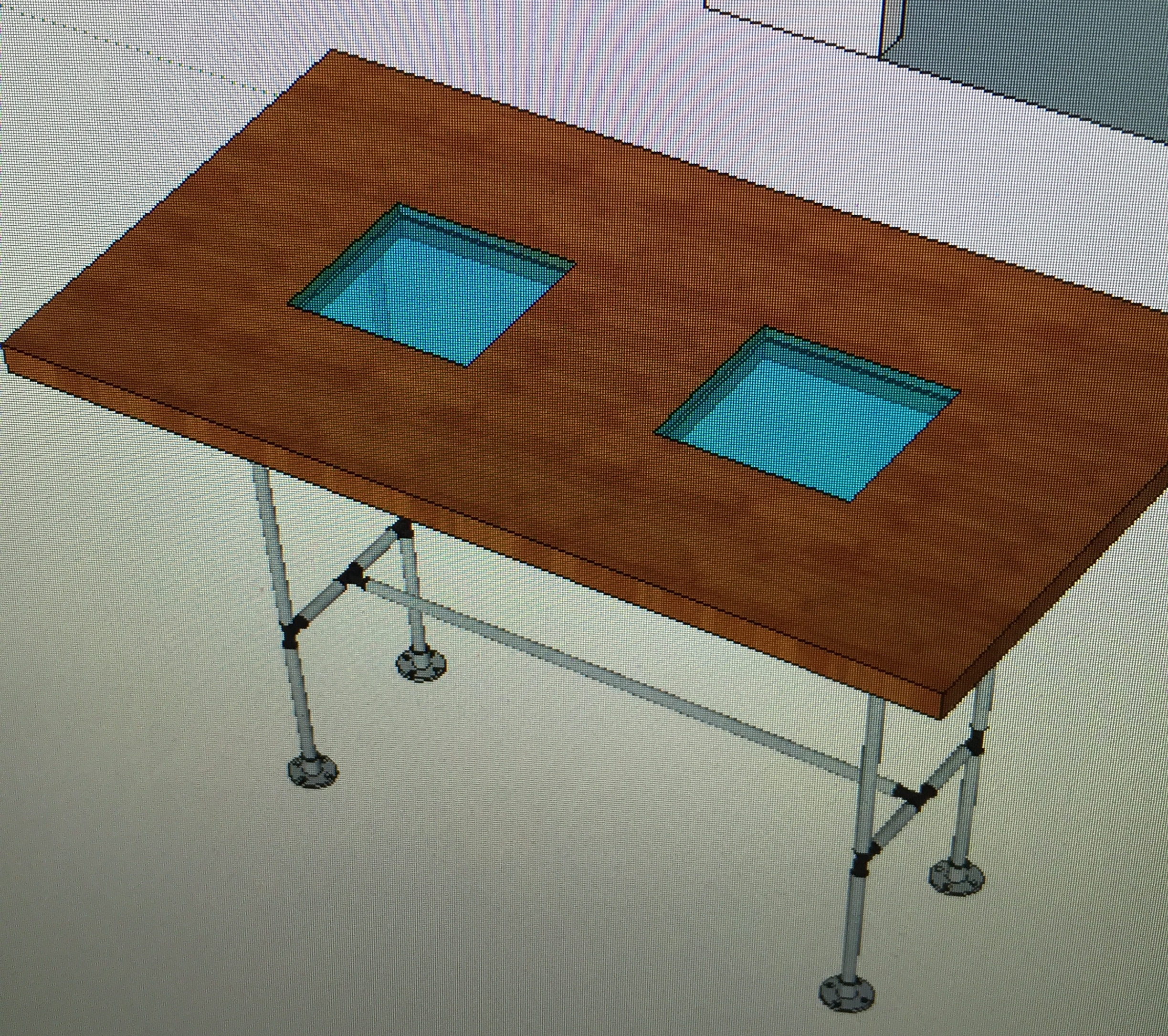 An early table design idea that was scrapped due to the size of the cedar slabs.
