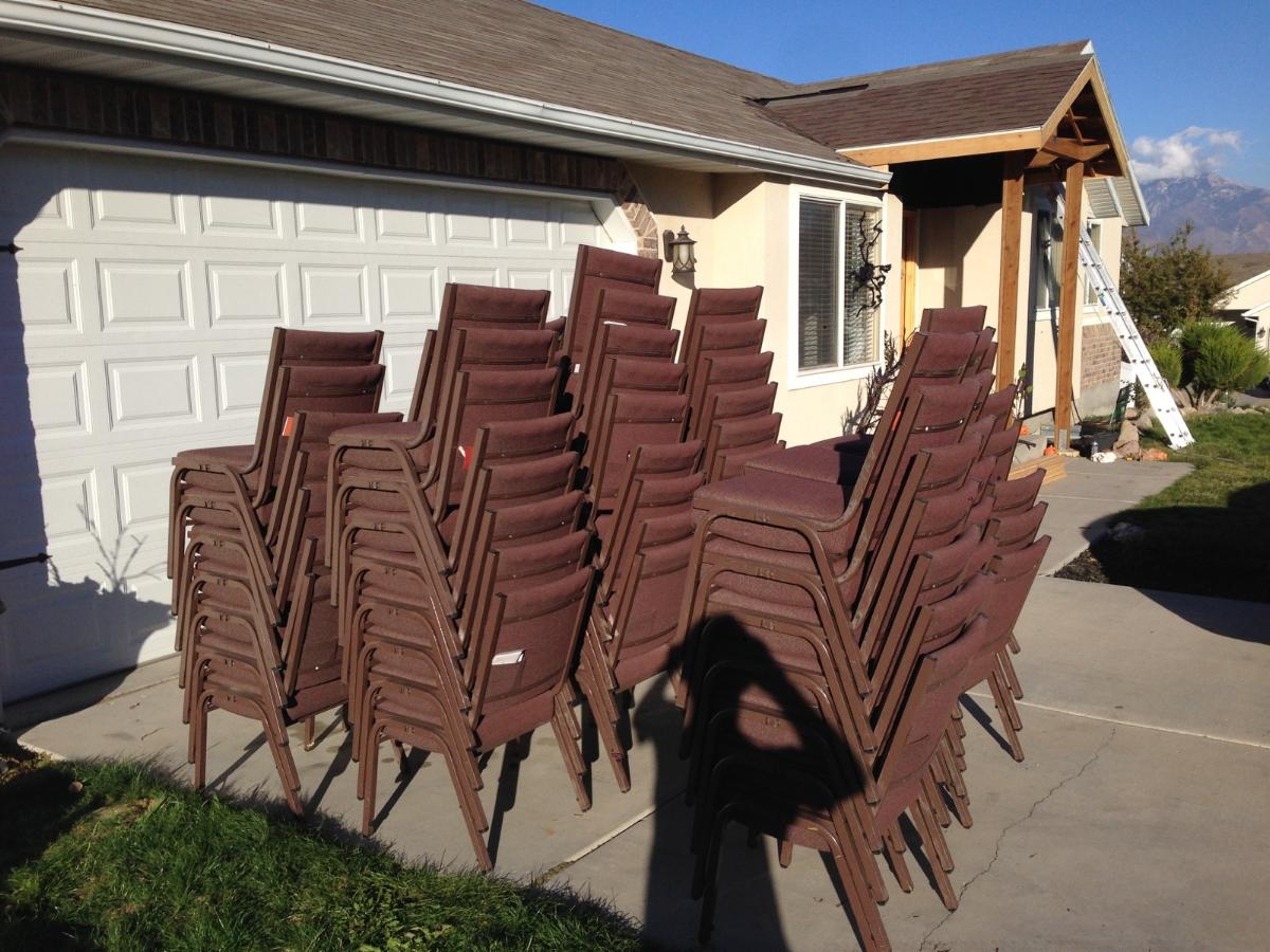 67 chairs in Herriman, given to [R] to be used in Rose Park, SLC.