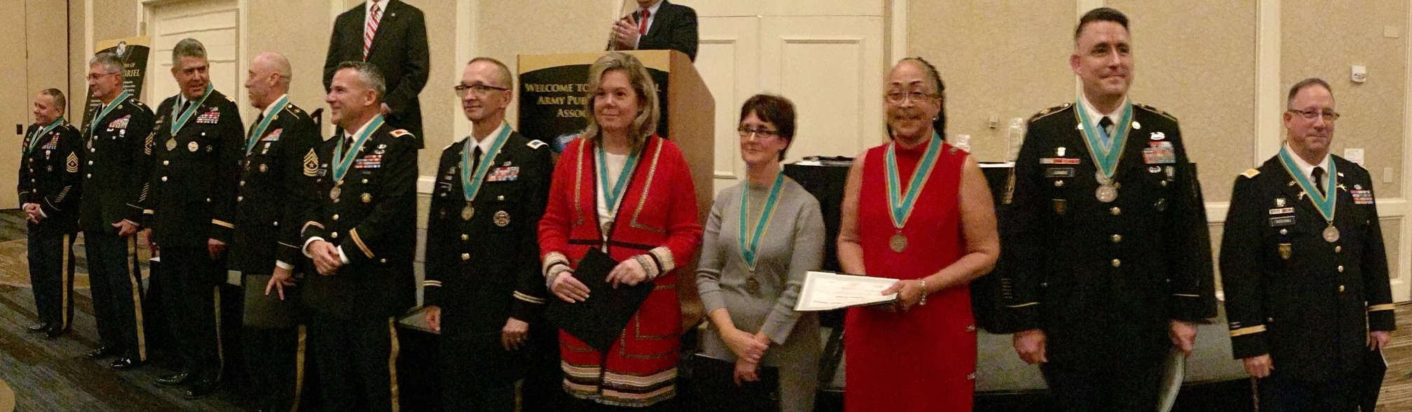 The first Public Affairs professionals to be honored with the Military Order of Saint Gabriel were inducted into its Ancient Order during the annual APAA Awards and Recognition Dinner in Alexandria, Virginia,Nov. 15, 2017 (not pictured: Col. Amy Hannah).