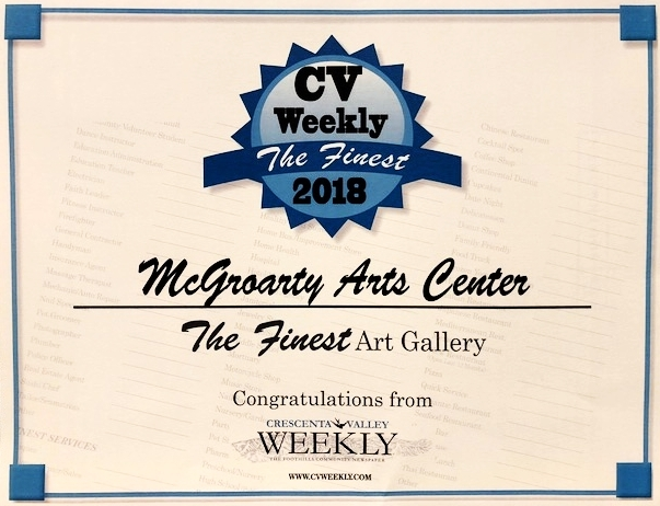McGroarty Arts Center Voted the Finest Art Gallery 2018 by CV Weekly -