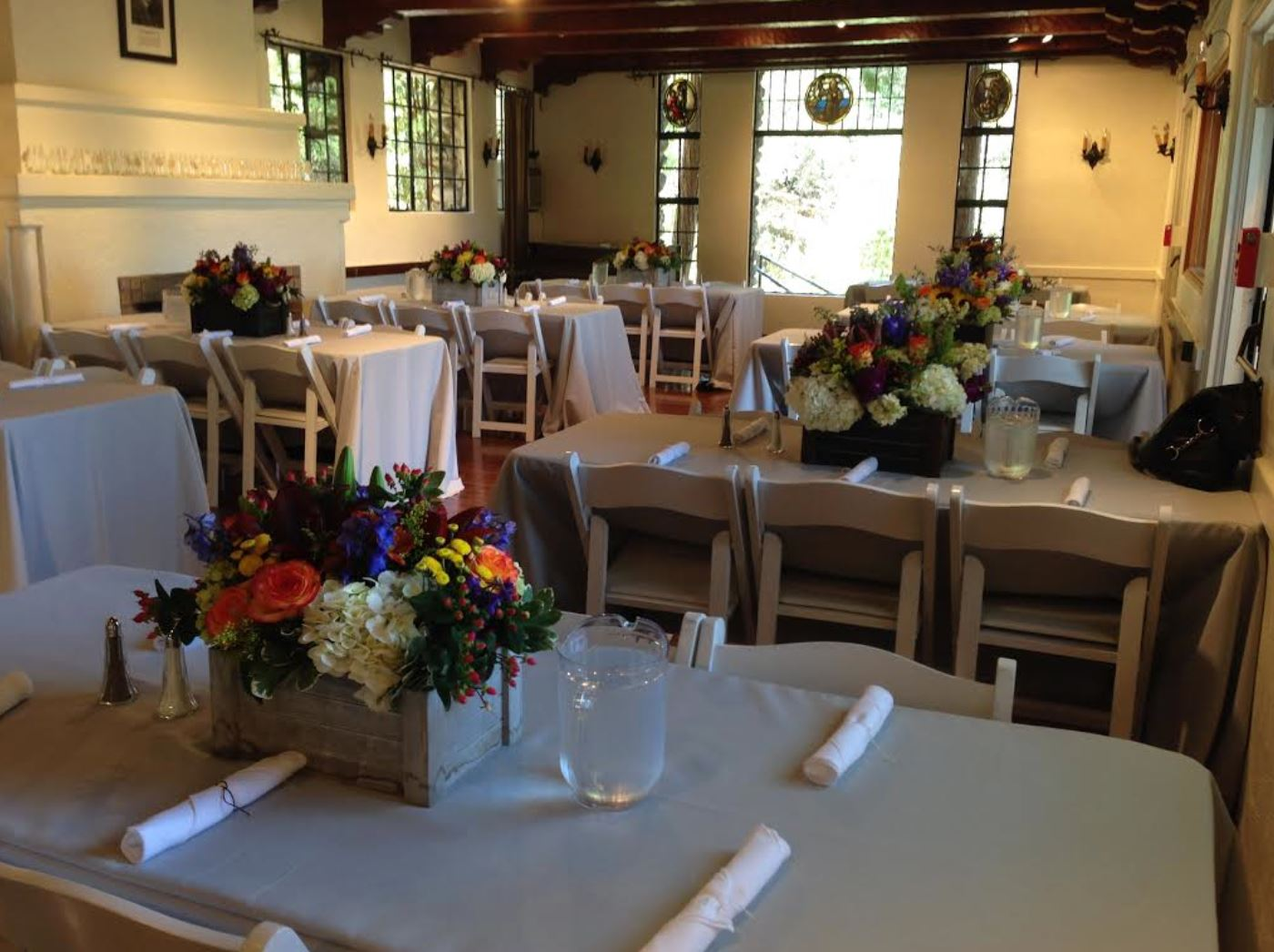 McGroarty Main Hall flowers on tables.JPG