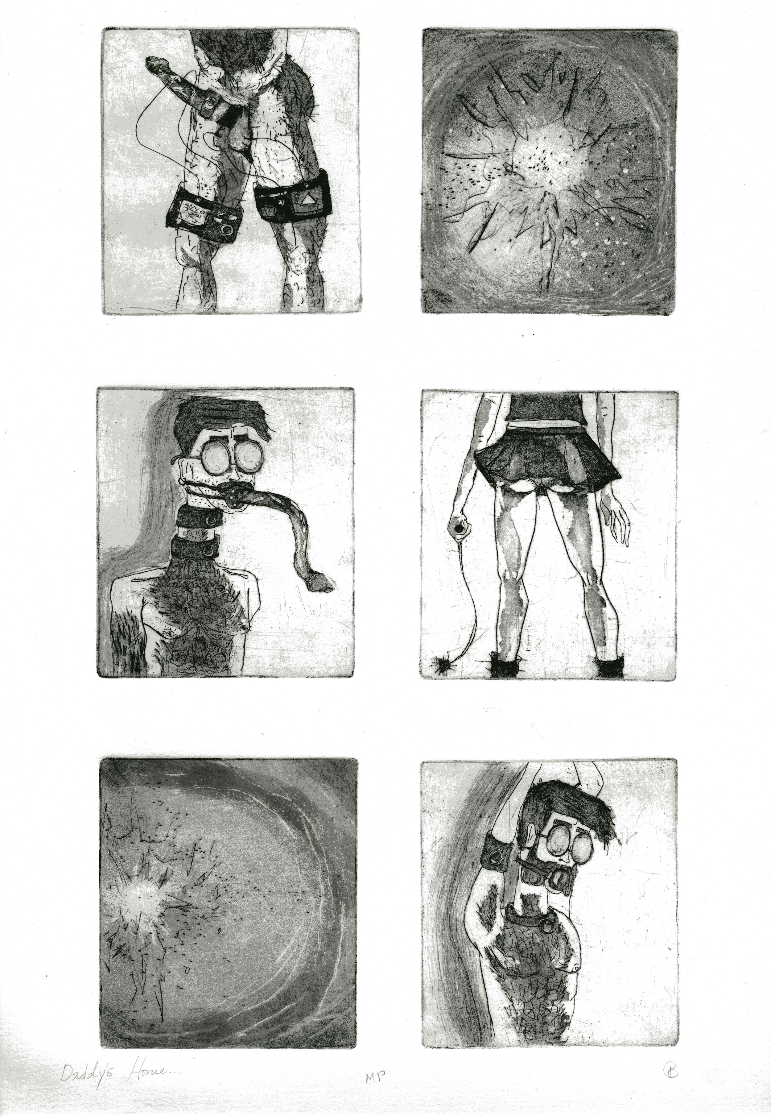 Daddy's Home But He's Not LIstening    Line-etch and Aquatint