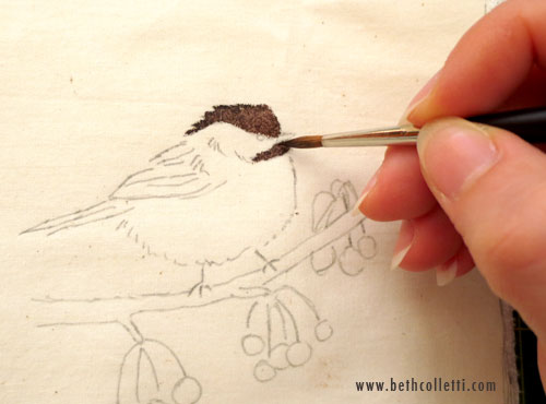 A pointed round or rigger watercolor brush works well for detail.
