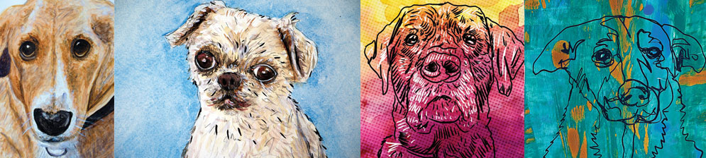 Pet portraits by  Mike Brennan  available in Watercolor, Digital, Acrylic on paper or canvas.