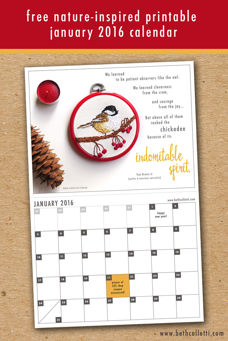 Free Printable Nature Inspired January 2016 Calendar