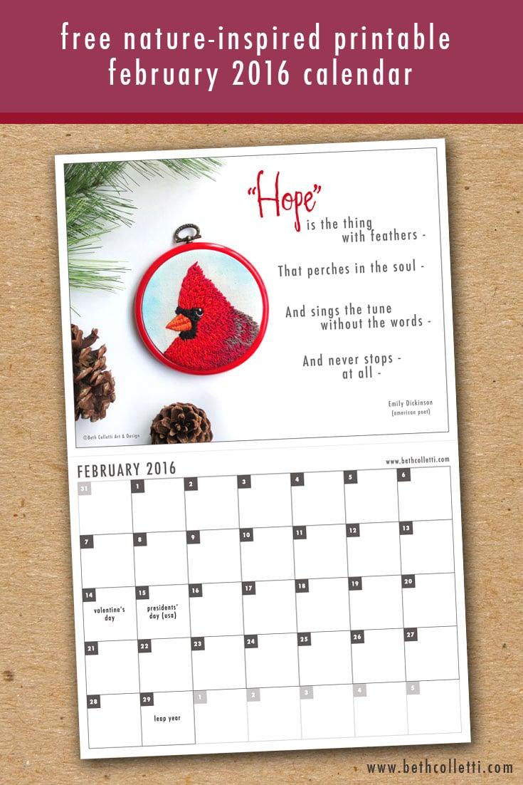 Beth Colletti Art February 2016 Downloadable Calendar
