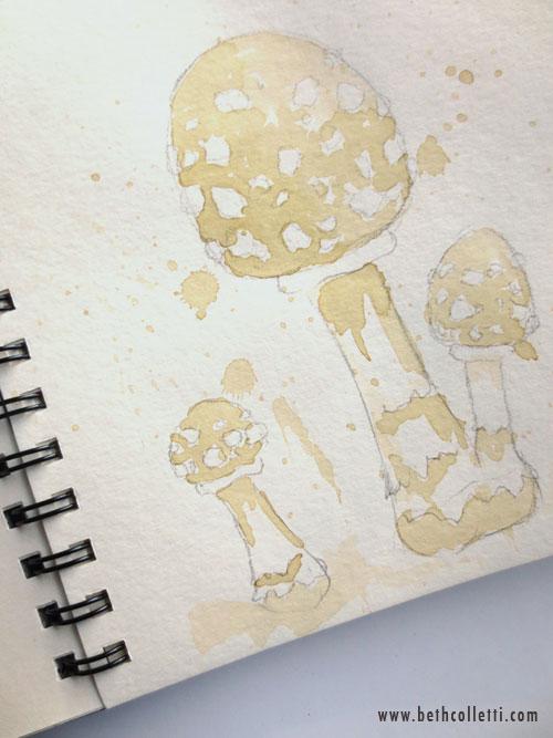 Tea-painted Mushrooms by Beth Colletti