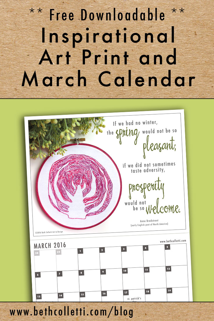Free Inspirational Art Print and March 2016 Calendar by Beth Colletti Art & Design