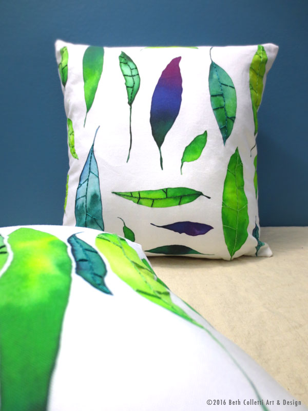 These leaf pillow covers—both 14x14 and lumbar size—are now available for order in  my shop .