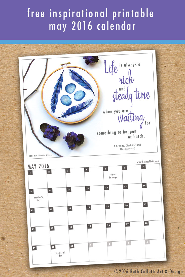 Beth Colletti Art & Design May 2016 Printable Calendar