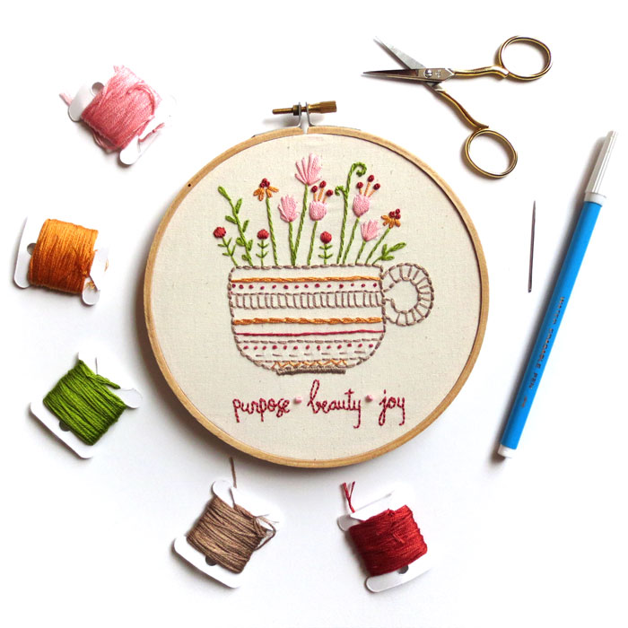 Herbal Tea Stitch Sampler by Beth Colletti Art & Design