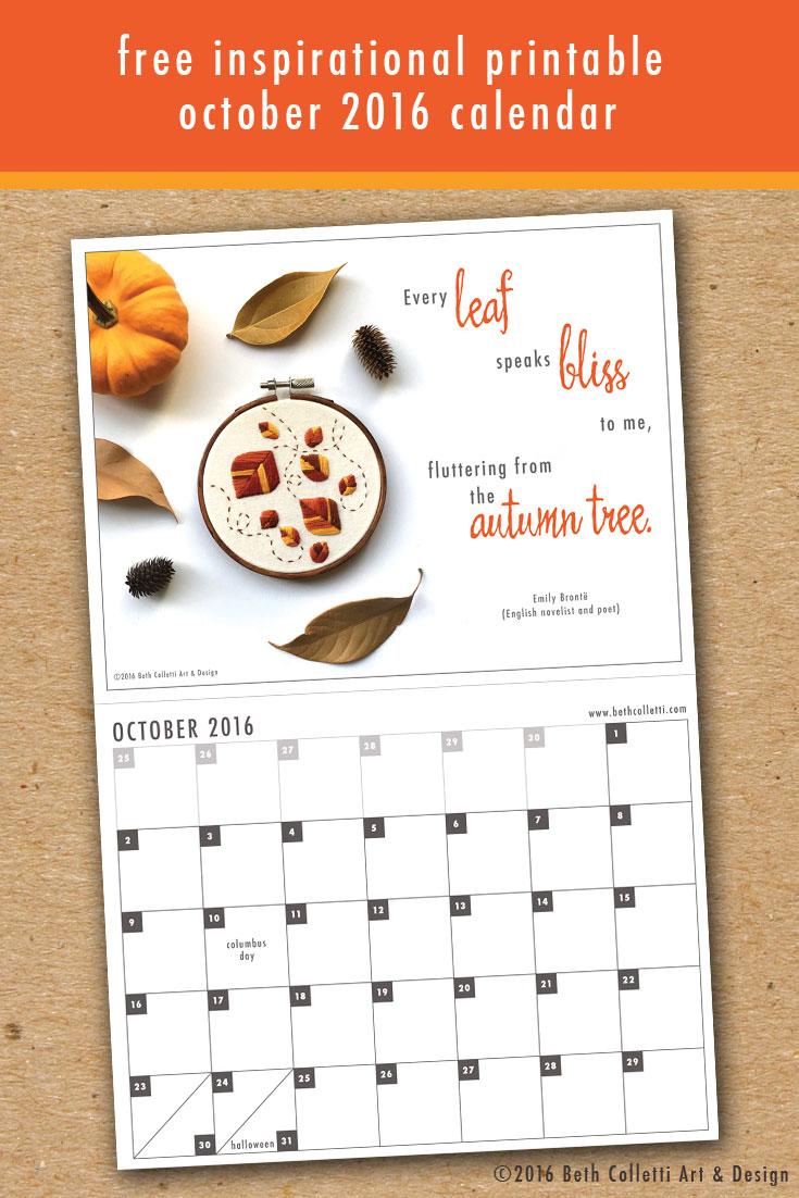 Free Inspirational Art Print and October 2016 Calendar
