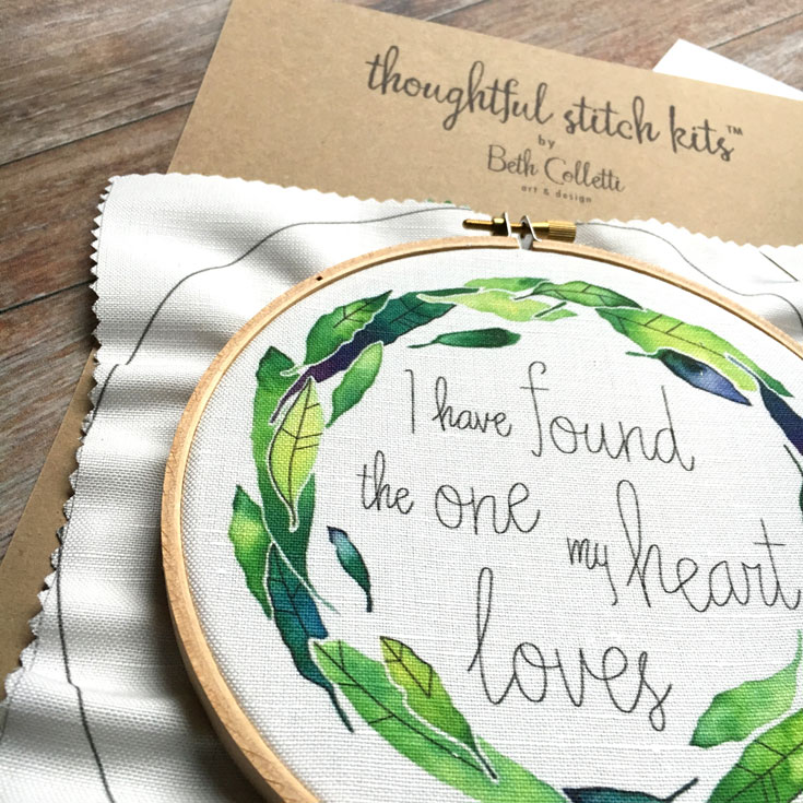 Four different DIY embroidery kits are now  available in my shop .