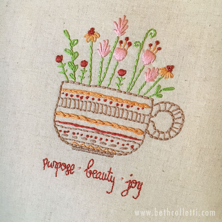 Beth Colletti Art Herbal Tea embroidery details