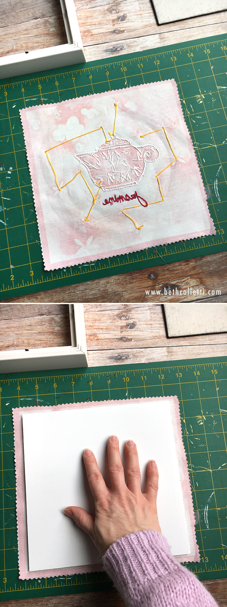 Center the mounting board onto your fabric with the adhesive facing down.