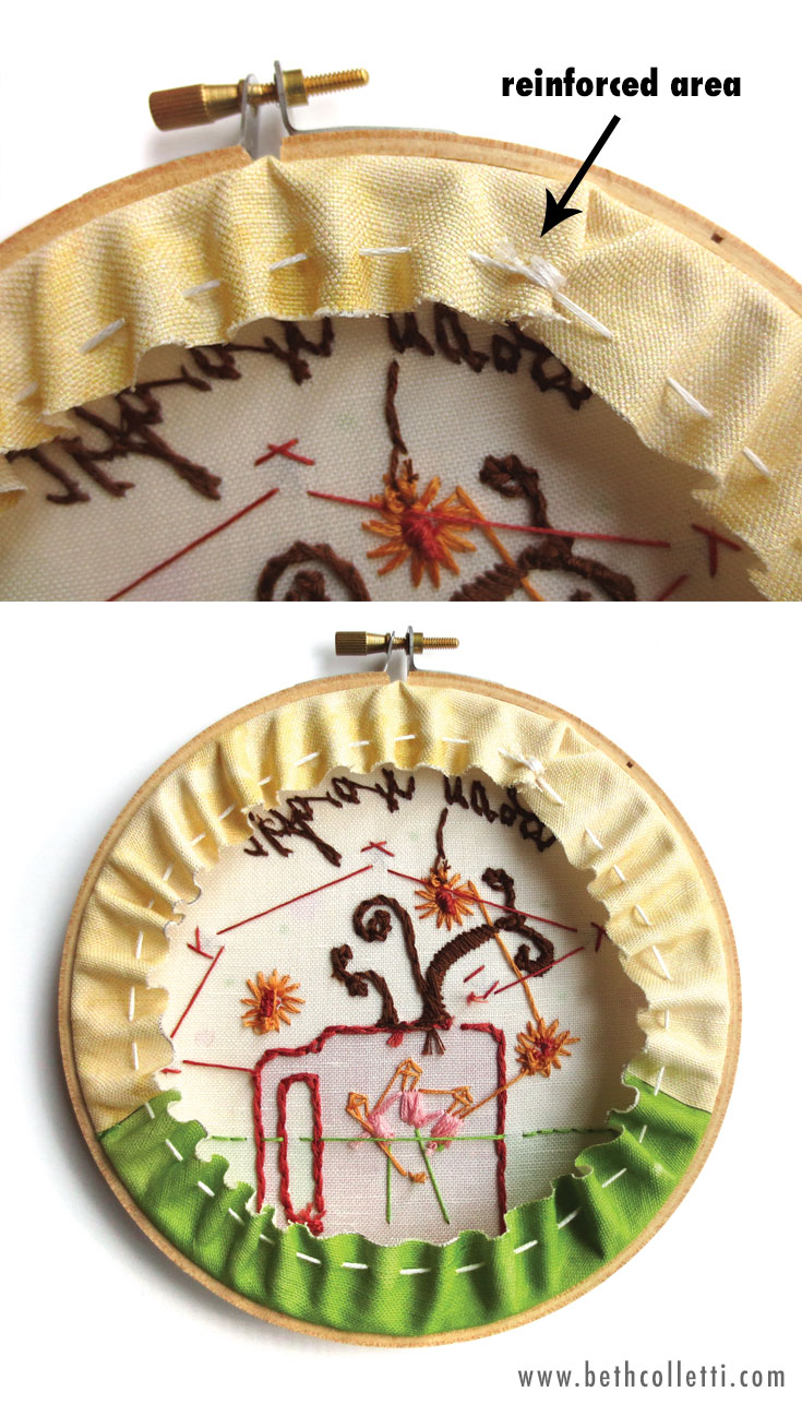 Finishing your embroidery hoop art by cinching the fabric.