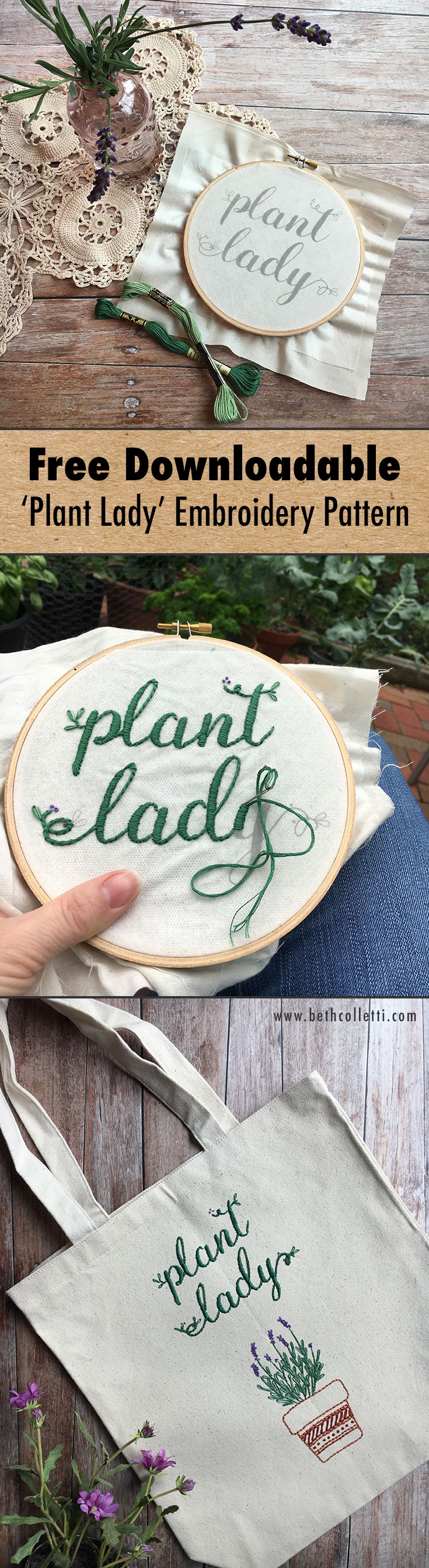 "Download this free ""Plant Lady"" embroidery pattern!"